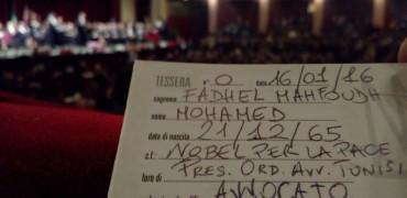 Consegnata tessera Agius al premio nobel per la pace Mohamed Fadhel Mahfoudh
