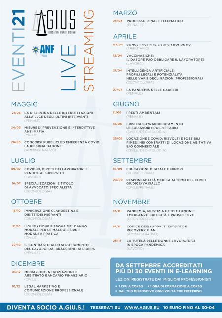Calendario eventi 2021 Agius